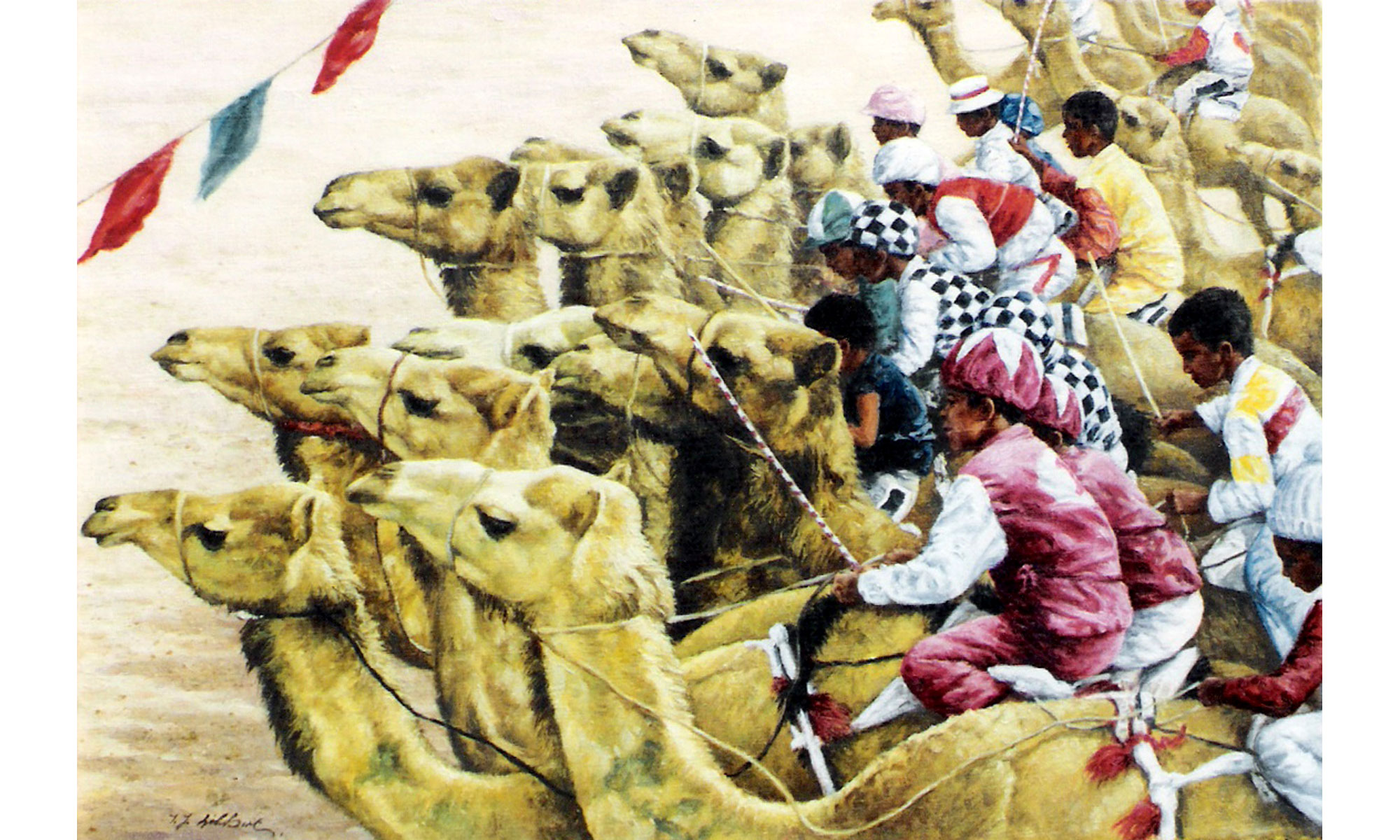 Camel Racing Painting by Terence J Gilbert Oil on Board