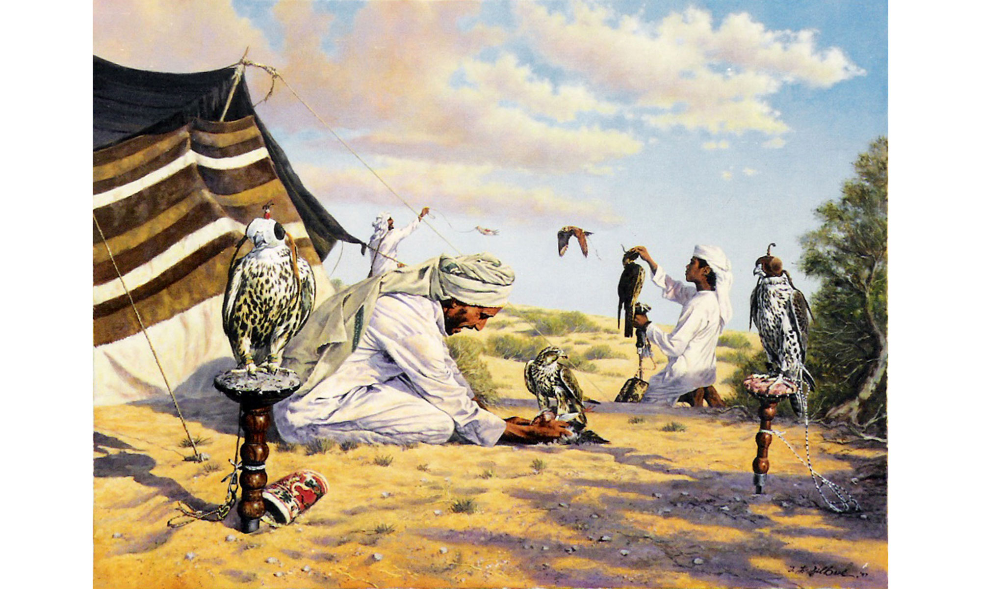 Falconers Painting by Terence J Gilbert Oil on Board