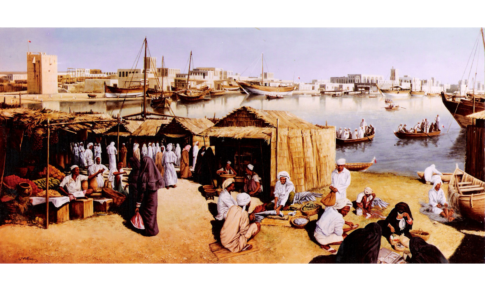 Old Dubai Market Painting by Terence J Gilbert Oil on Board