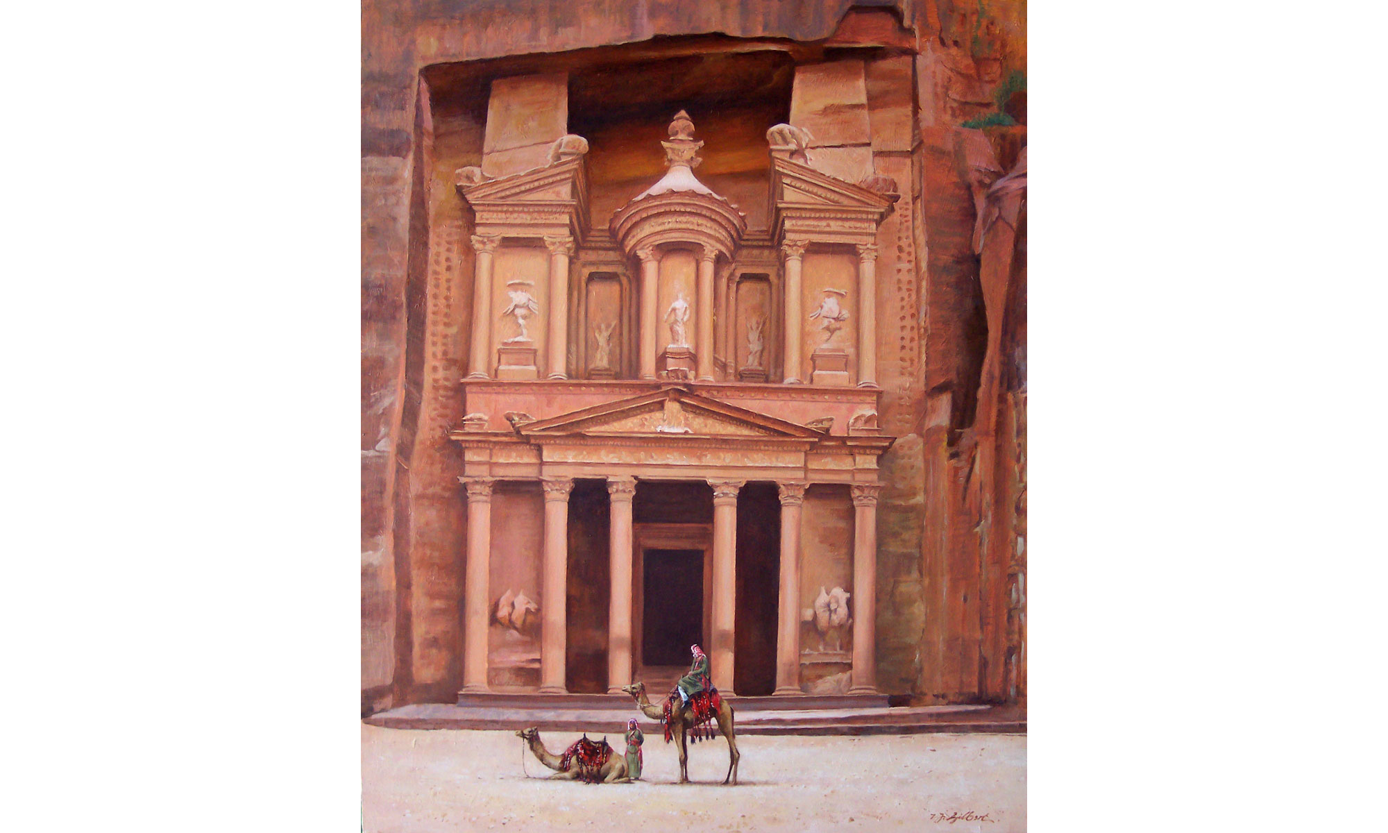 Petra Painting by Terence J Gilbert Oil on Board